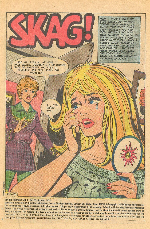 Charlton Secret Romance Story I was a teenage Skag romance comic books