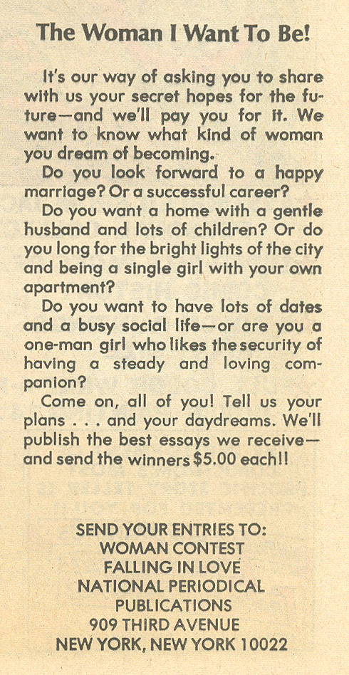 Contest announcement from  Falling in Love  #133 (June 1972)