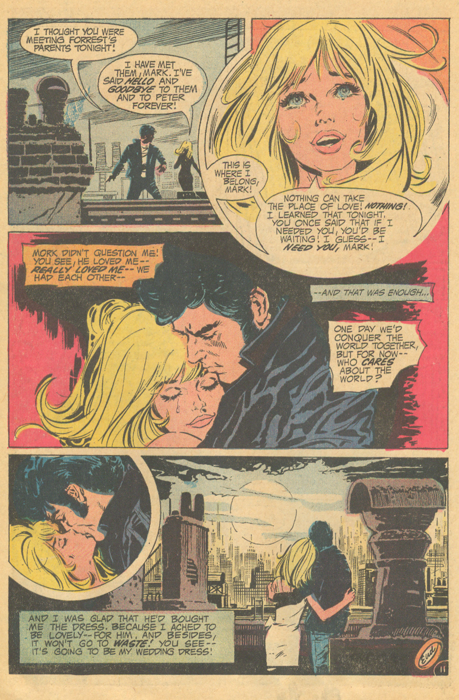 """""""Love on a Rooftop!"""" from  Young Love  #90 (December 1971) Frank Langford"""
