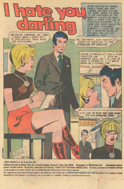 Secret Romance Women's Lib movement 1970s comic book romance male chauvinism