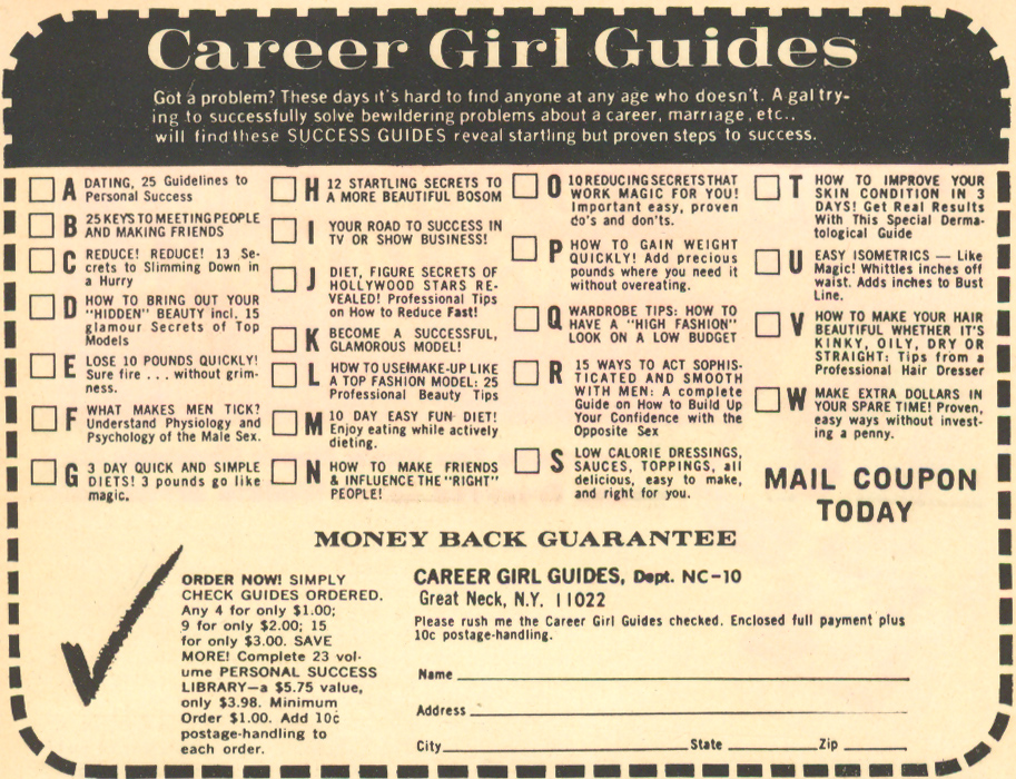 romance comic books career girl guides advertisement