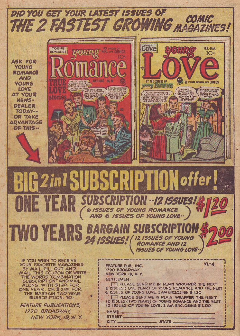 Romance comics exploded onto the comics scene in part thanks to Jack Kirby. House ad from  Young Love  #4 (August/September 1949), Prize. Scan from the Digital Comic Museum.