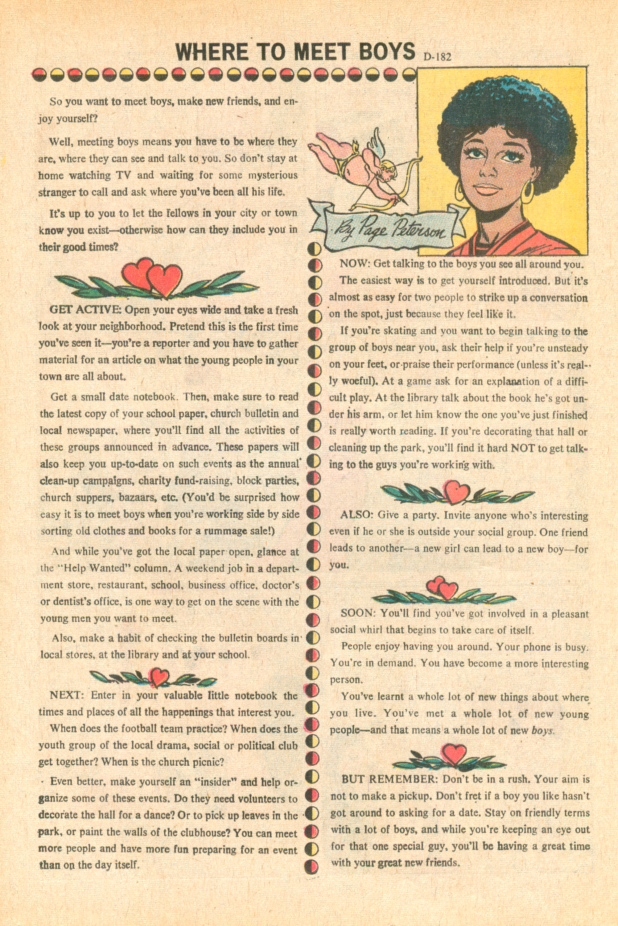 """Where to Meet Boys""  Secret Hearts  #152 (June 1971), Issue Editor: Dorothy Woolfolk, DC Comics."