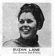 """Suzan Lane Our Groovy Gal Friday"" (bullpen  photograph)  Fantastic Four Annual  #7 (November  1969),  Marvel  Comics. http://kirbymuseum.org/blogs/dynamics/2010/12/22/1960s-marvel-bullpen/"