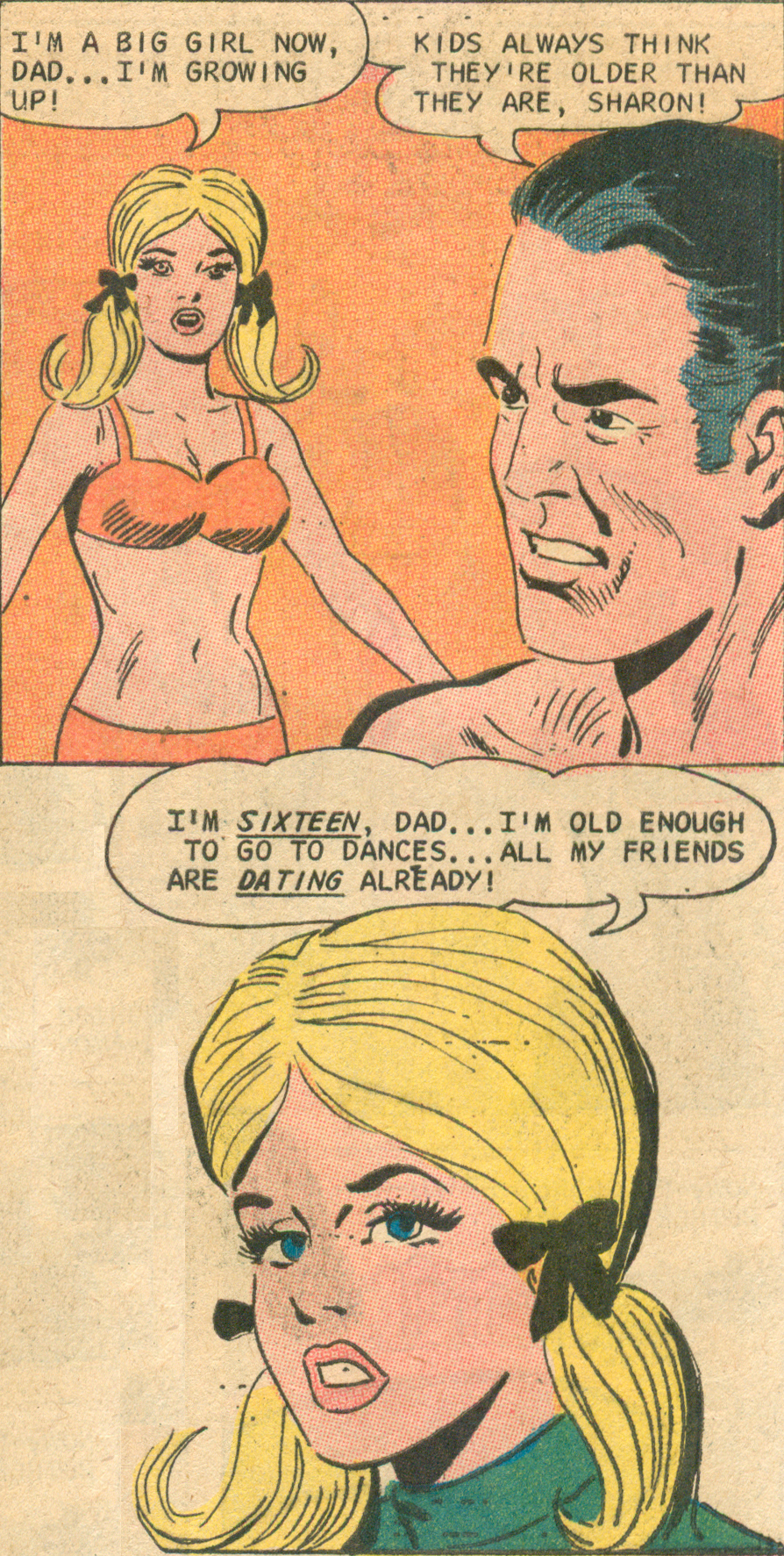 """Daddy's Little Girl""  Teen Confessions  #83 (November 1973), Pencils: Charles Nicholas,   Inks: Vince Alascia, Charlton Comics."