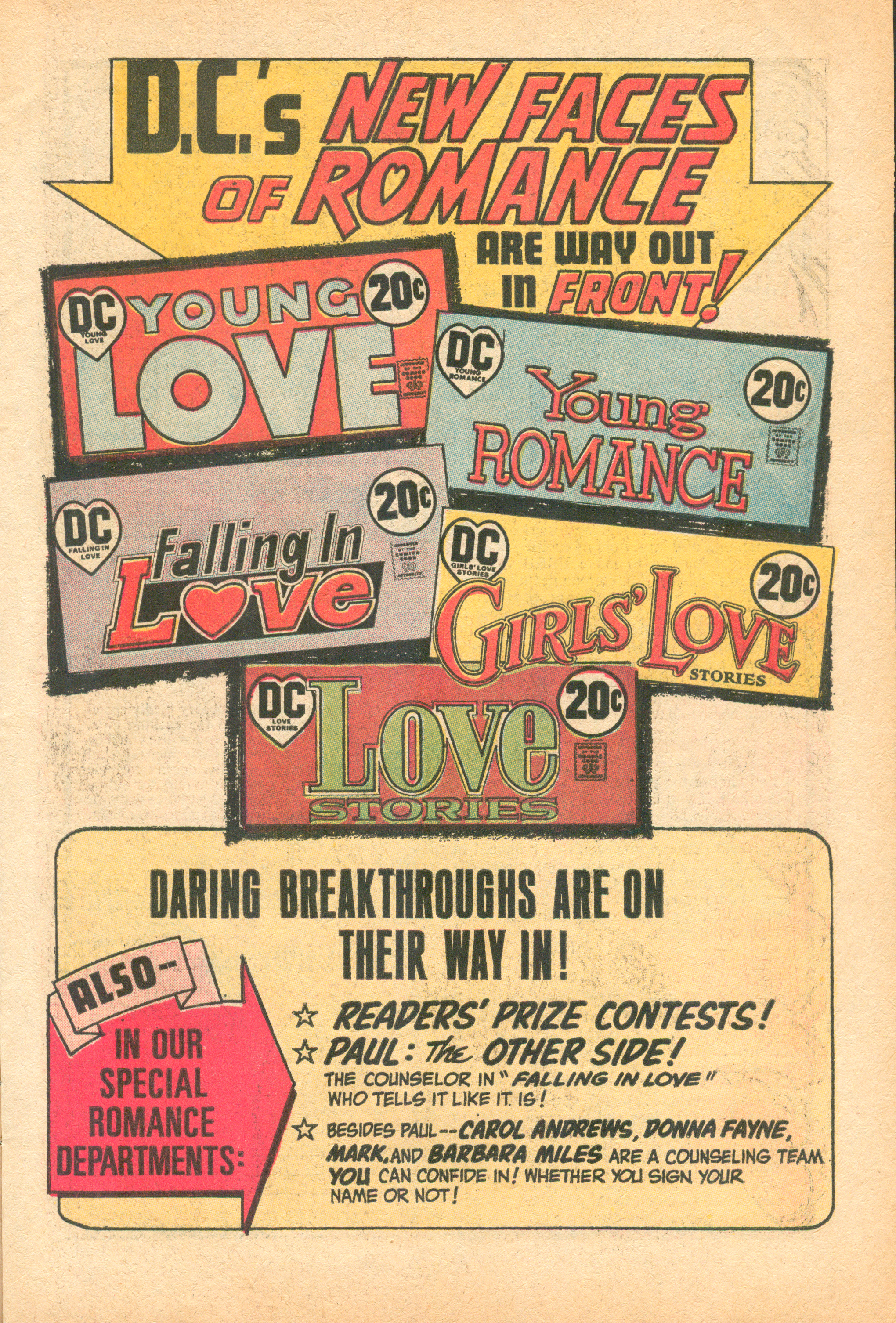 """D.C.'s New Faces of Romance"" (house advertisement)  Young Romance  #195 (September/October  1973), Issue Editor:Robert Kanigher, DC Comics."