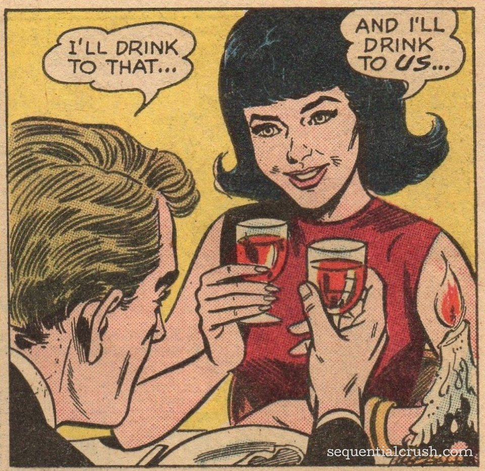 """Panel from """"Come Back to Yesterday!""""  Girls' Romances  #107 (March 1965), Pencils: Werner Roth, Inks: Frank McLaughlin (   source   )"""