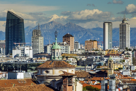 Milan View of the Alps