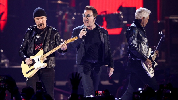 Rockband U2 performing live on stage in Dublin