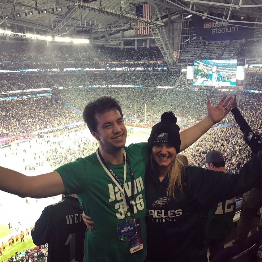 Kristin and her brother following the Eagles win at Super Bowl LII in Minnesota.