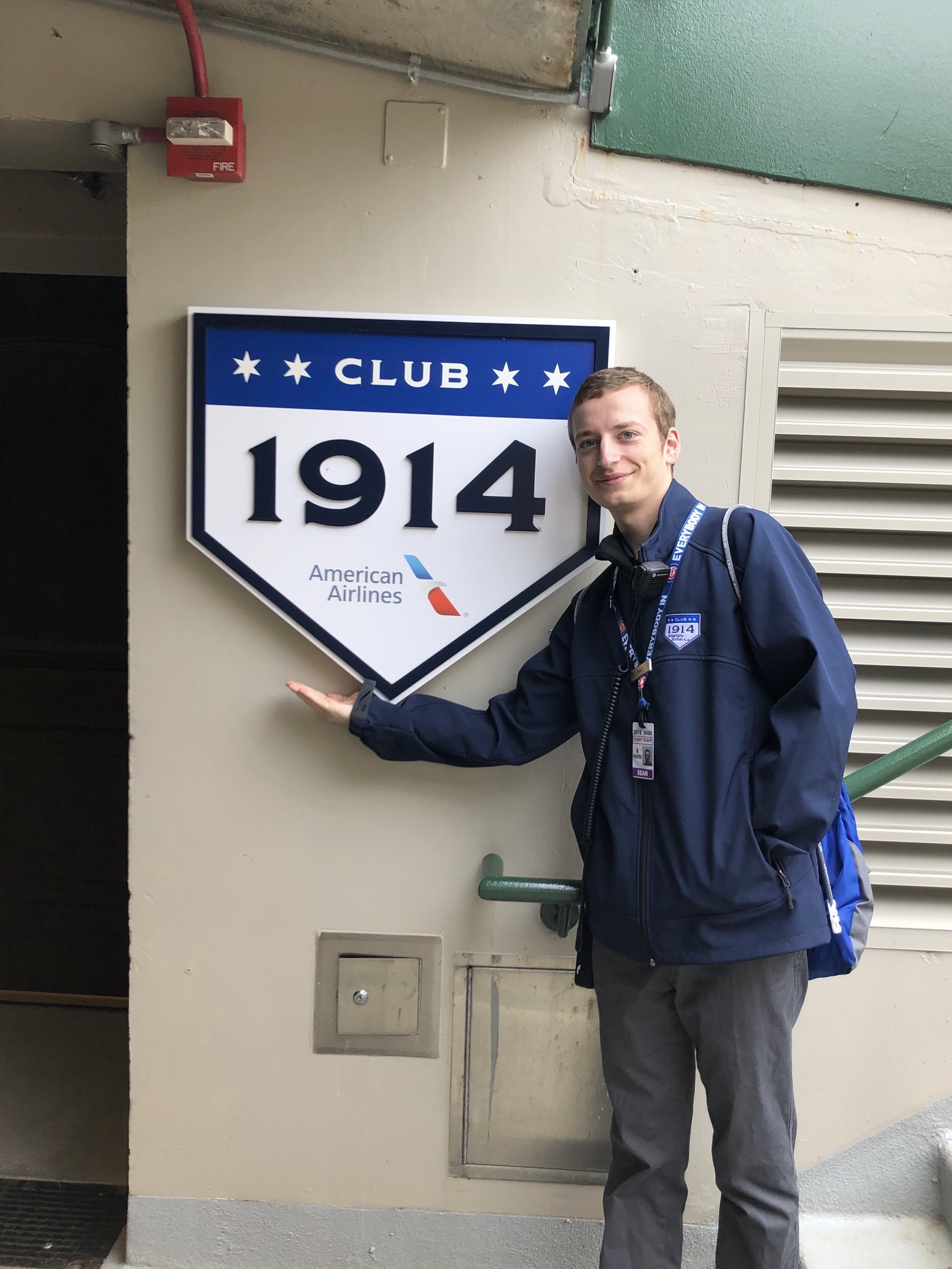 Sean working at Club 1914 at Wrigley Field