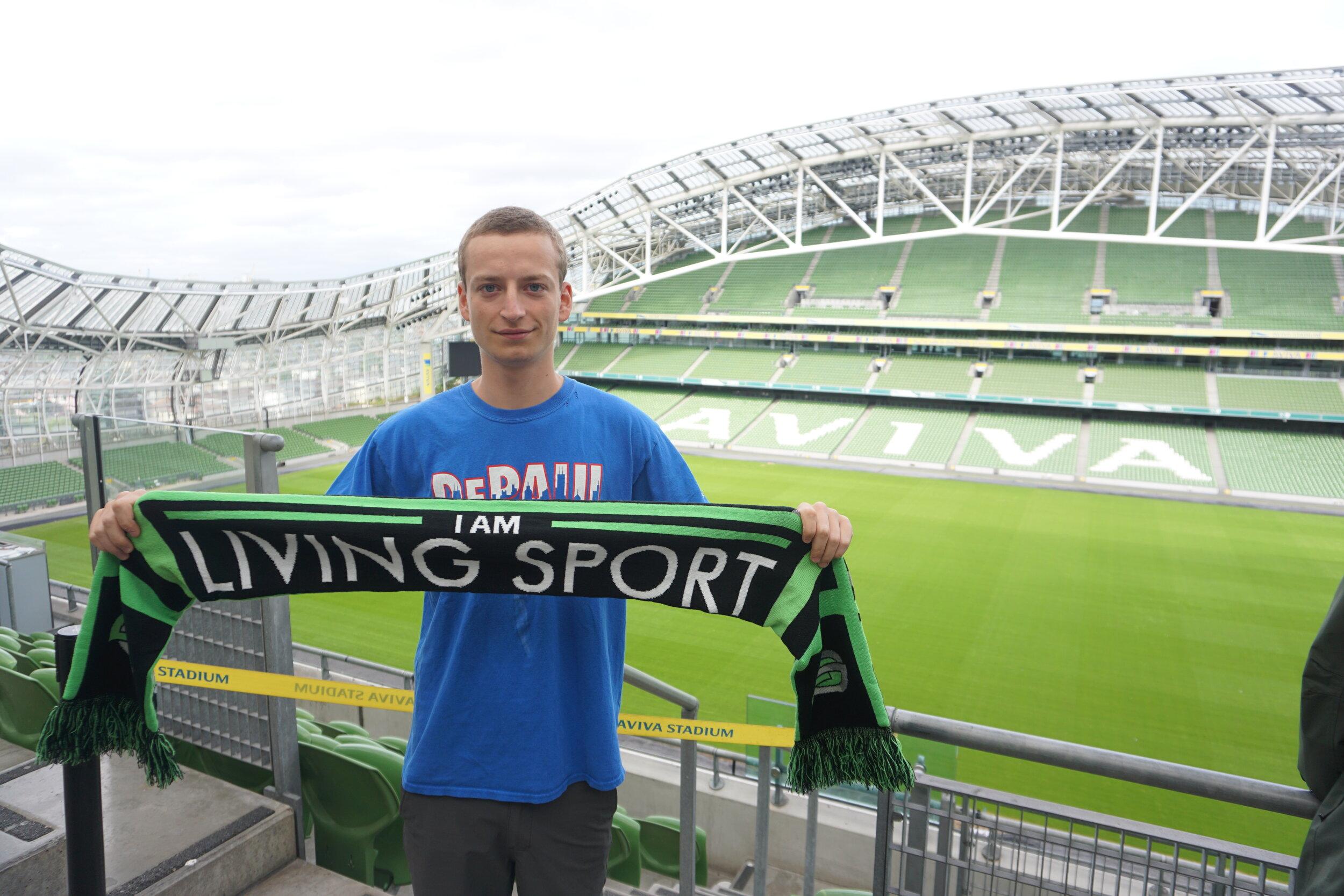 Sean visiting Aviva Stadium in Dublin, Ireland as part of the International Sport Business Program in 2019