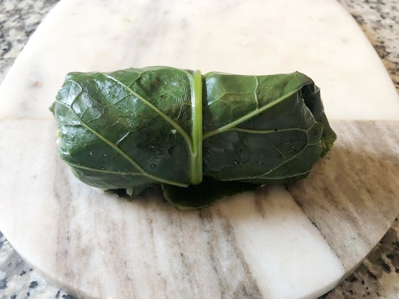 TIP: if you feel the wrap is unsupported, use some of the smaller chard leaves to double wrap in. -