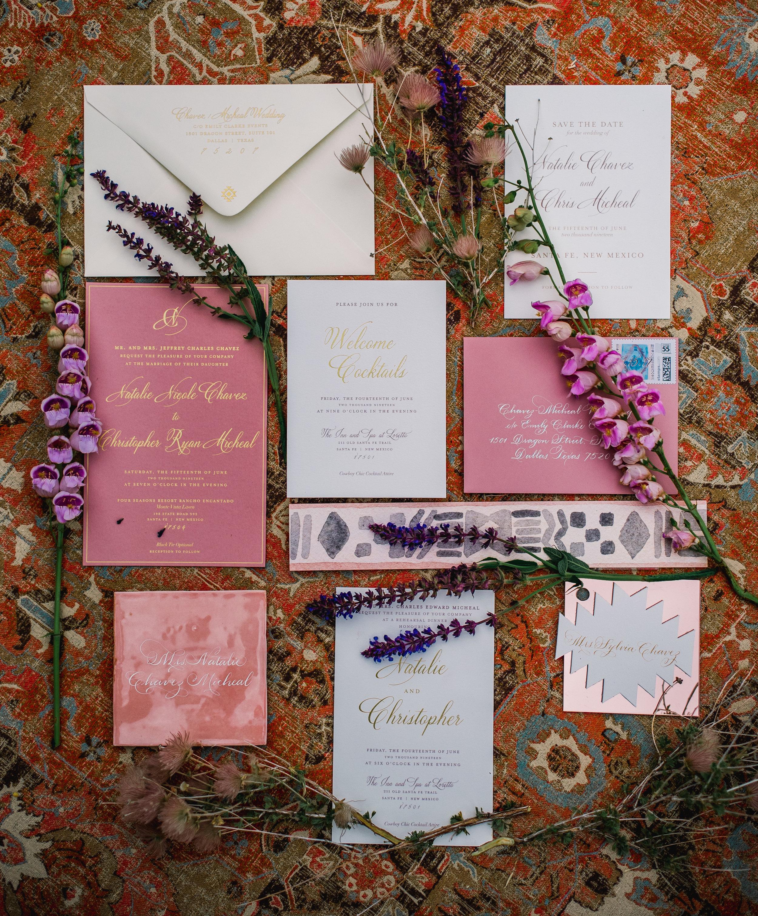 Stationery Details - Santa Fe, New Mexico - Summer Wedding - Julian Leaver Events