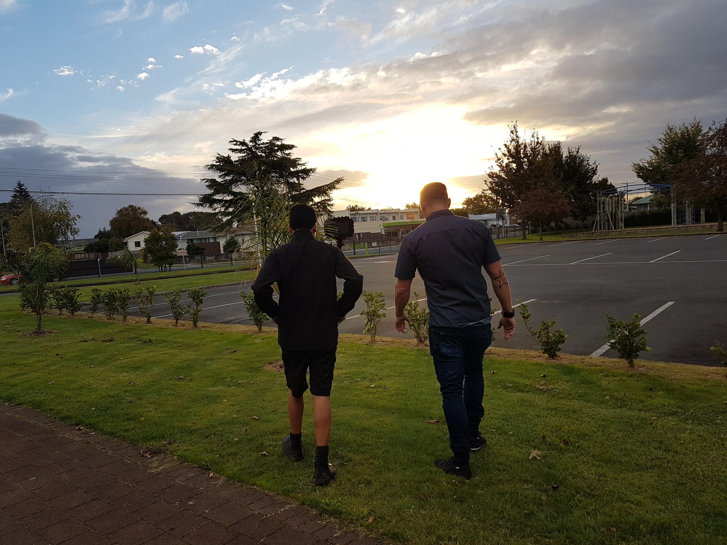 Anaru and Mr Cappy at Hamilton Junior High School in Te Rapa