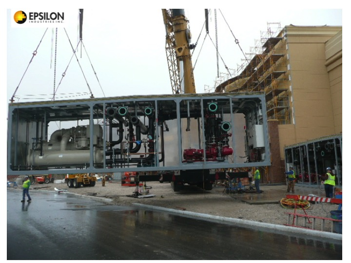 refabricated plants are delivered in shipping sized modules for re-attachment on the job site.