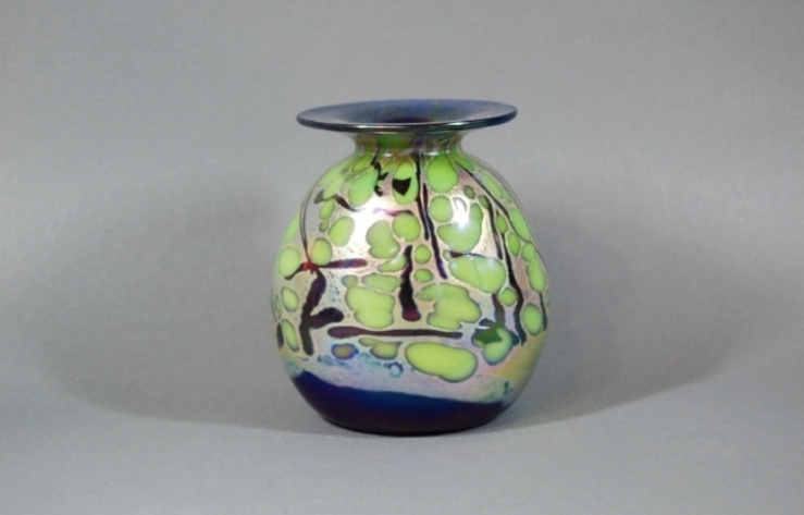 Cobalt vase with green frit and black cane.