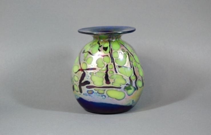 Cobalt vase with green frit and black cane.