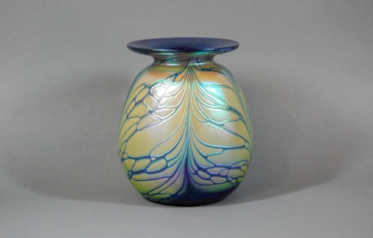 Cobalt vase with butterfly veining.