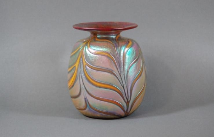 Cherry red vase with mango wraps.