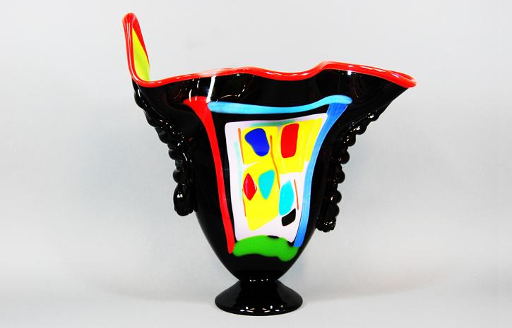 Black shoulder vase with fused abstract glass