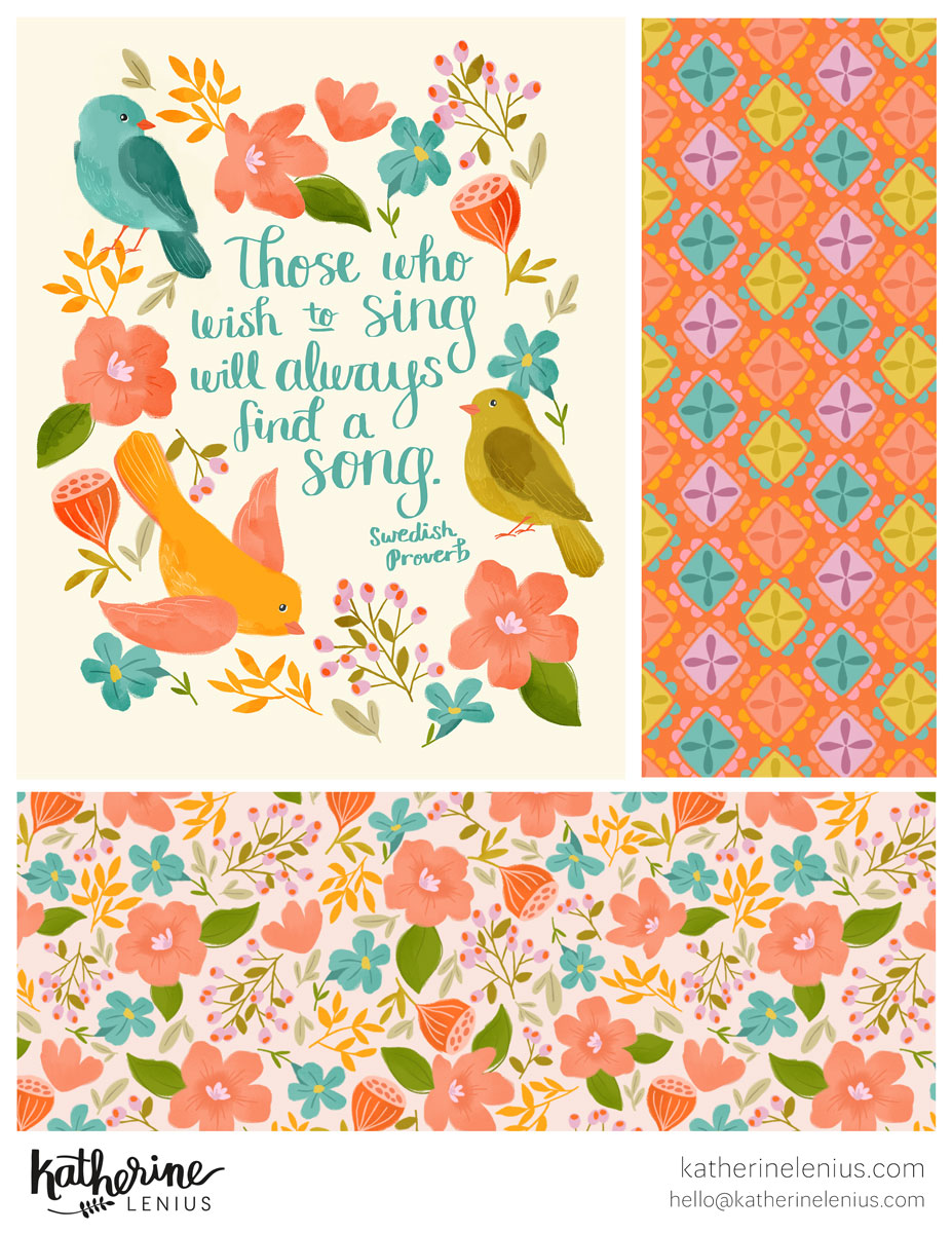 A new collection, Bird Song, with some of my favorite colors.
