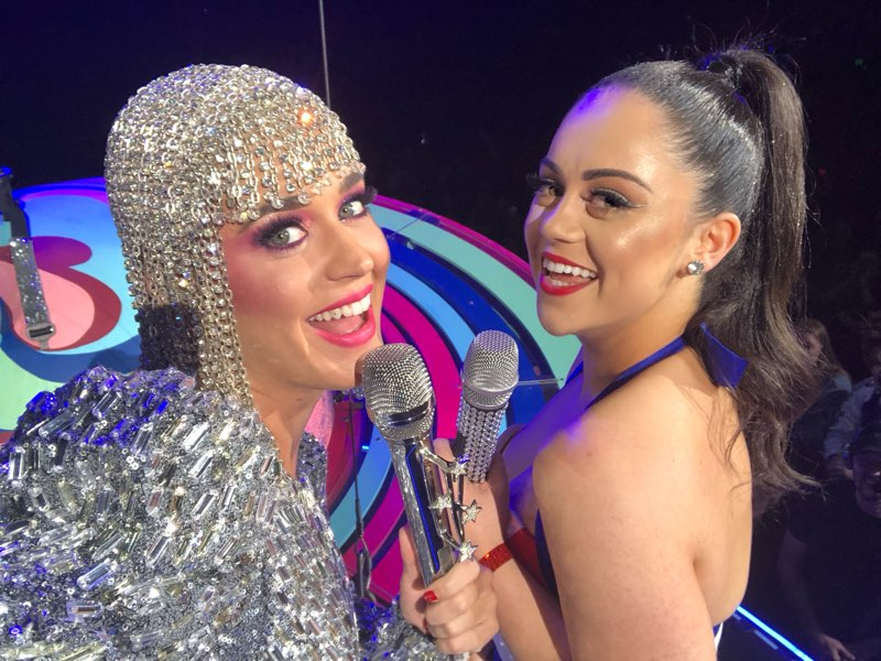 Katy Perry spotted Kayla (her doppelganger) and pulled her onstage.