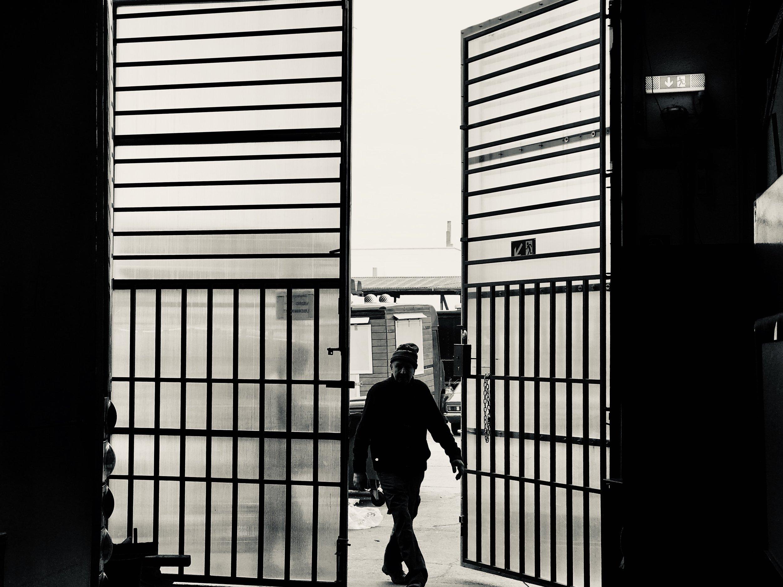 Entering.