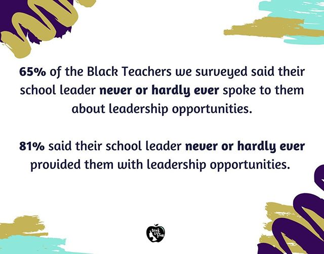 We created a survey that we asked Black teachers from our IG community to take. This is some of the data we shared at our workshop yesterday on Black Teacher Retention. Despite the research that shows students that have had a Black teacher are more likely to graduate and attend college, Black teachers development and retention isn't prioritized. Our system is not doing all it can to retain us, support us and develop us. What solutions do you have for retaining Black teachers?