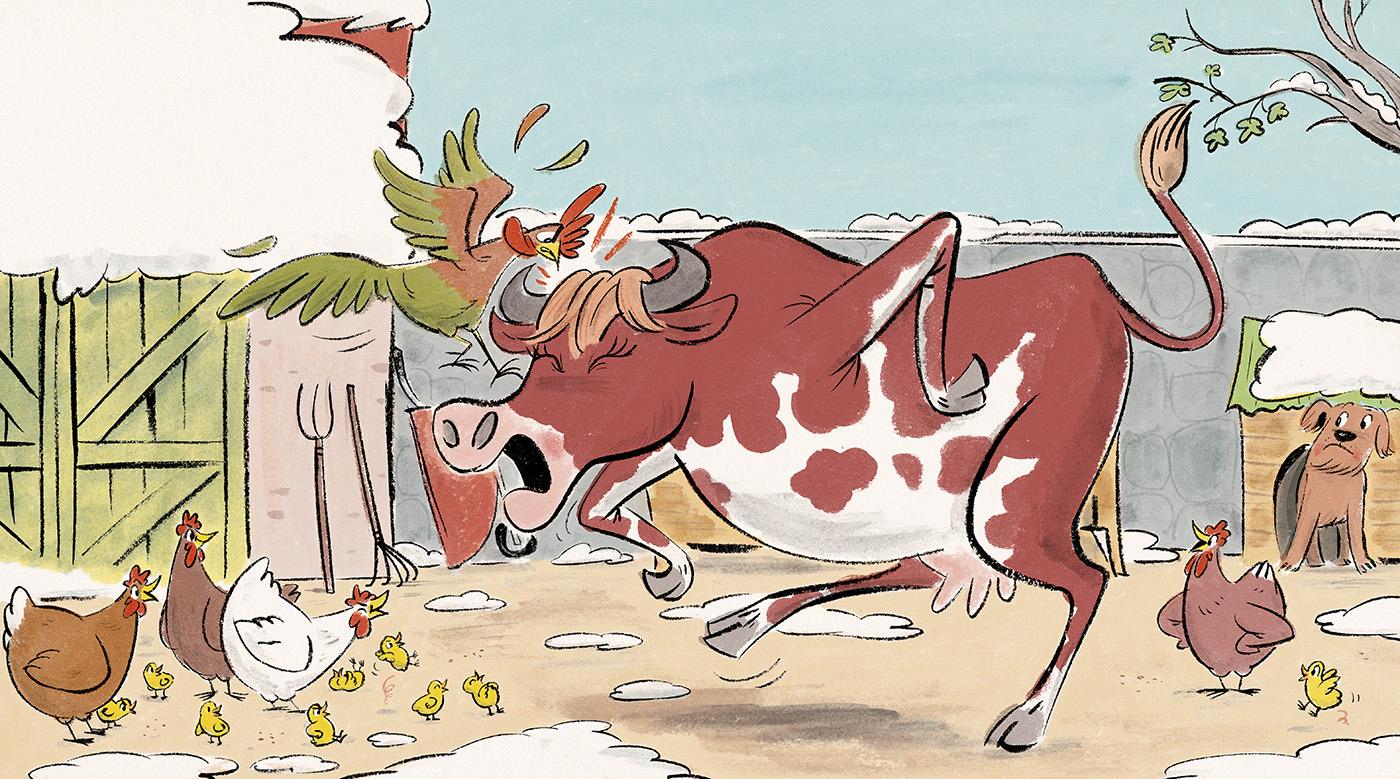 From 'Cloche, La vache qui croyait être une poule,' WRITTEN BY SÉBASTIEN AMMI  Les Belles Histoires  February 2016 Bayard Press.