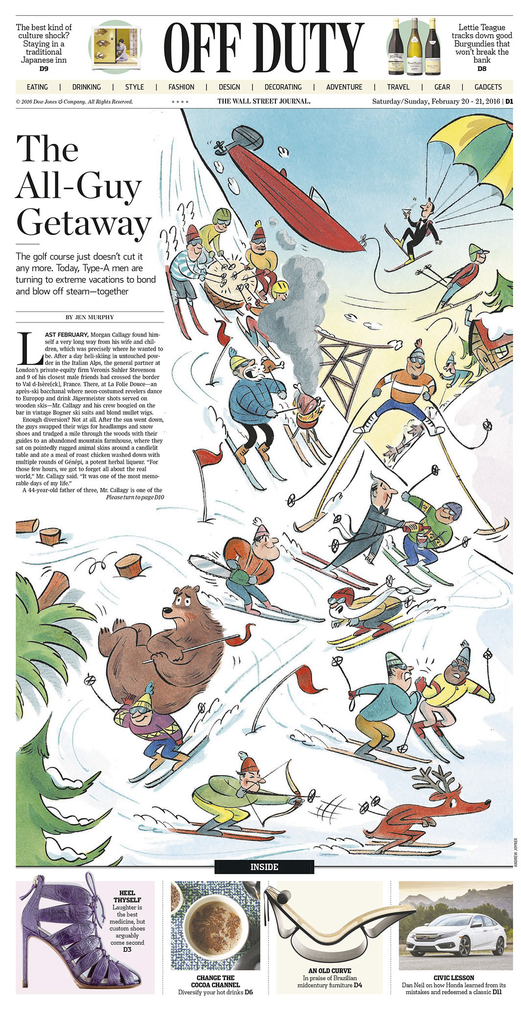 Cover illustrations for  The Wall Street journal  'off duty' section 2016.