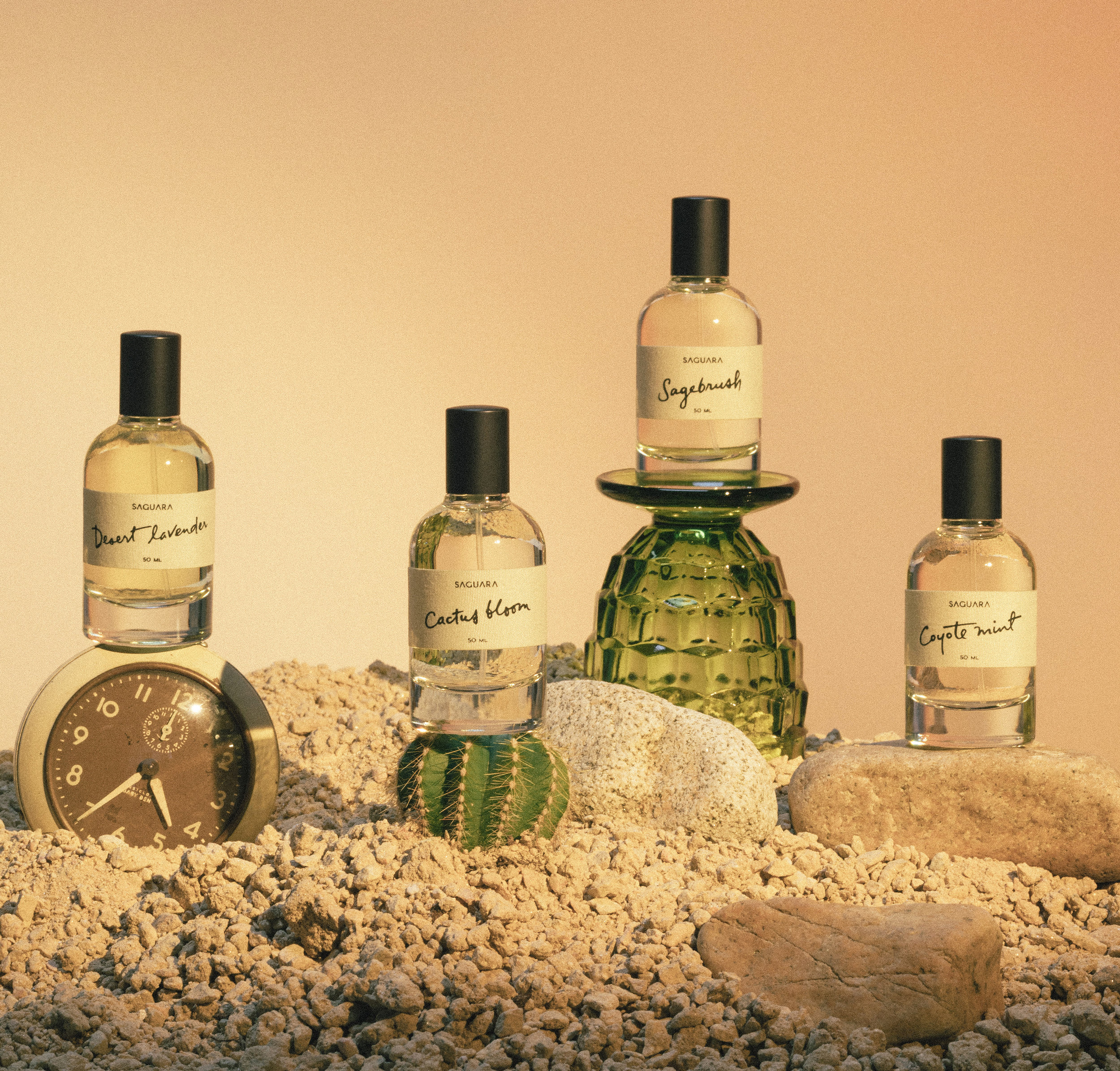 THE PERFUME OF DESERT FLORA  Moved by the stillness of the California Desert, SAGUARA PERFUMES pays homage to the redolence of this transcendent wasteland.  Saturated with delicate desert florals and native herbs, our handmade artisan scents capture the ancient spirit of this harsh yet harmonious landscape.