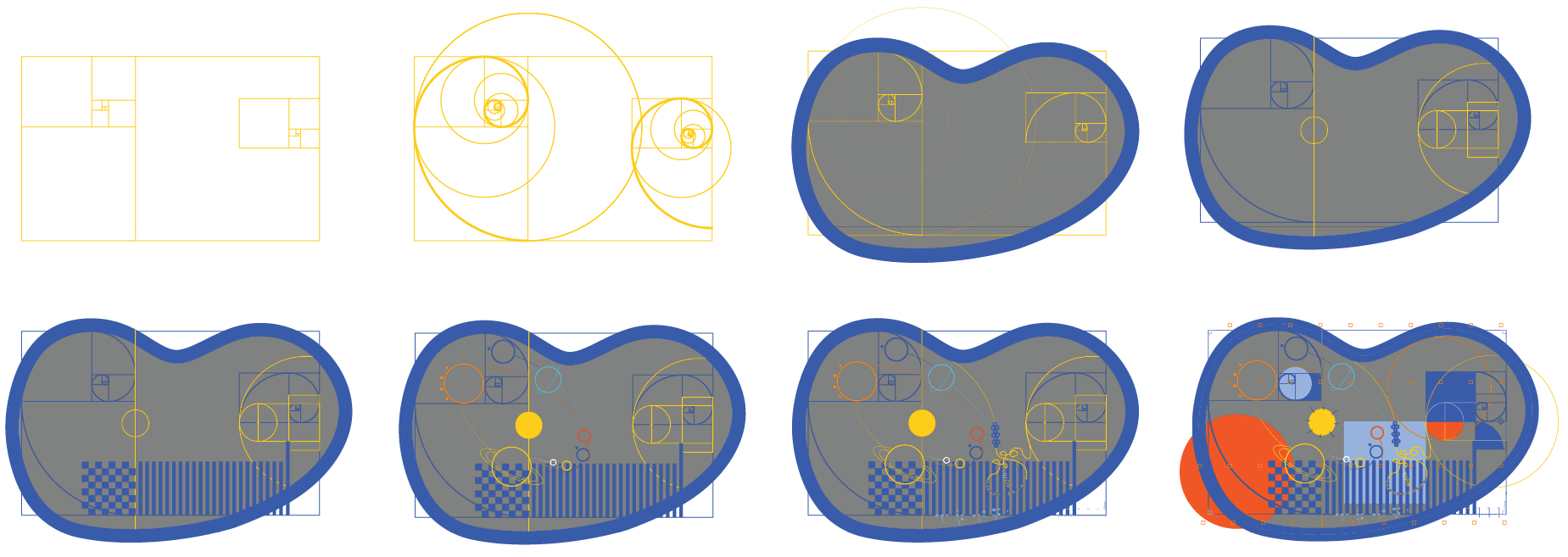 Painting sequence of the learning island, showing the underlying construction lines governing the design using golden rectangles and circles.
