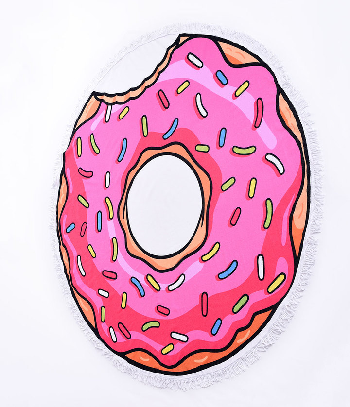 PINK FROSTED DONUT - ROUND TOWEL