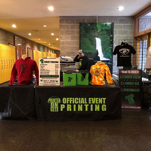 Busy day today at South Medford Winter Jam and Jr. Mustang Classic! • • • • #screenprinting #screenprint #livescreenprinting #eventapparel #fundraising #tshirts #tees #apparel #eventprinting #liveprinting #events #onsiteprinting #eventplanning #memories #funevents #tournaments #youthsports  #coach #coaching # #hoodies #basketball #wrestling