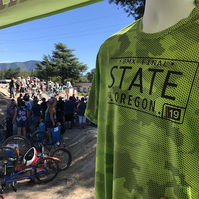 Custom shirt printing out here this weekend in Grants Pass for the State BMX Final. 🚴🏼‍♂️