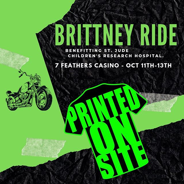 Two weeks until the final Brittney Ride benefitting St. Judes Children's Research Hospital. Come see us for your custom T-shirt! • • • • #screenprinting #screenprint #livescreenprinting #eventapparel #fundraising #tshirts #tees #apparel #eventprinting #liveprinting #events #onsiteprinting #eventplanning #memories #funevents #tournaments #youthsports  #coach #coaching #brittneyride #harleys #rideordie  #hoodies #stjudes