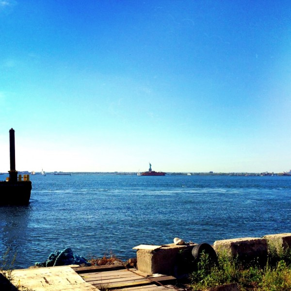 "A view from the wharf upon ""Lady Liberty."""