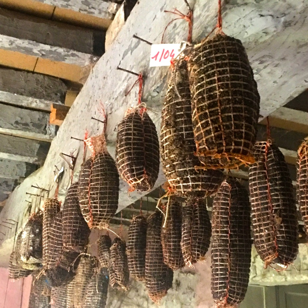 Charcuterie aging in the attic of the Chapolard home.