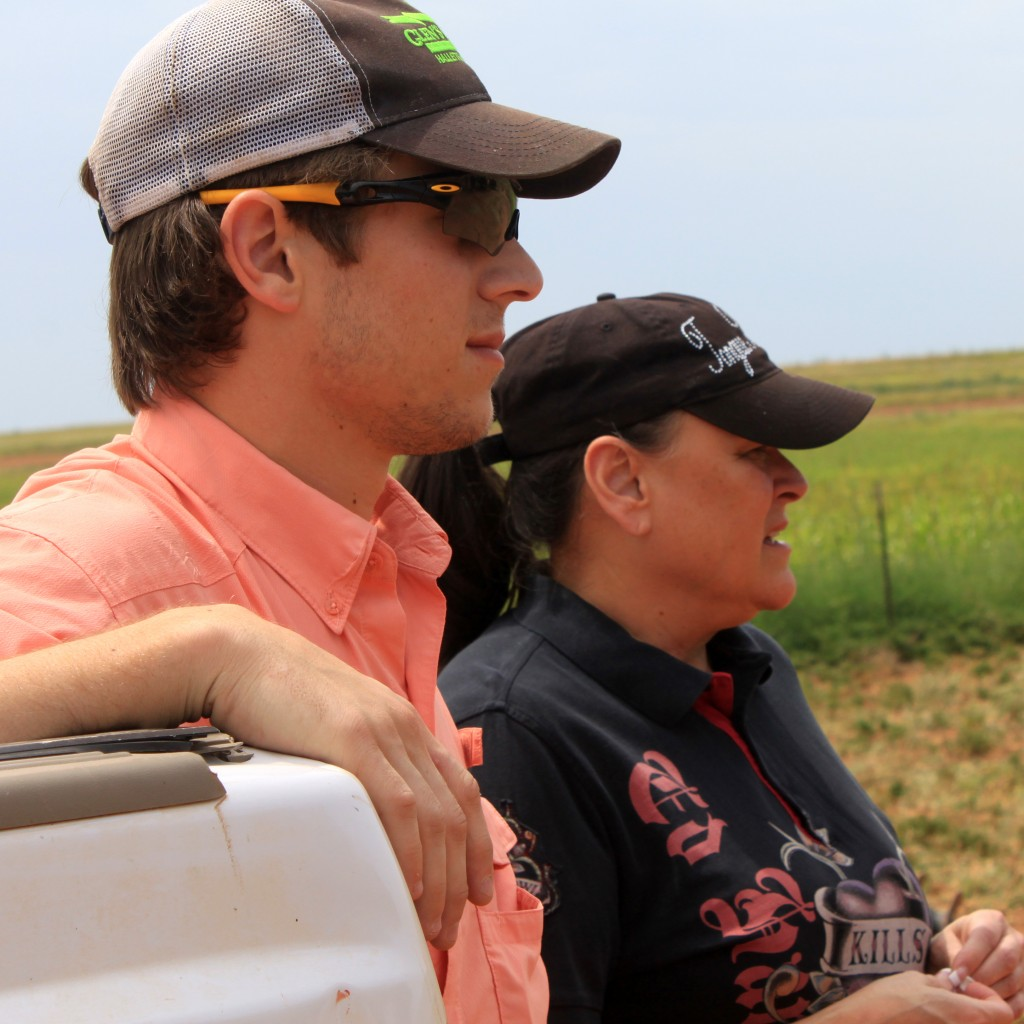 Lynita and I watching Mike check his herds