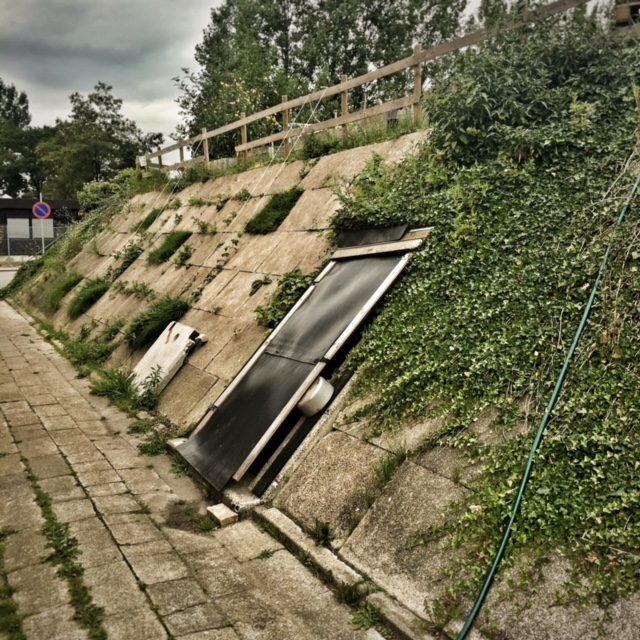 The Cold War era bomb shelter behind Folkets Madhus.