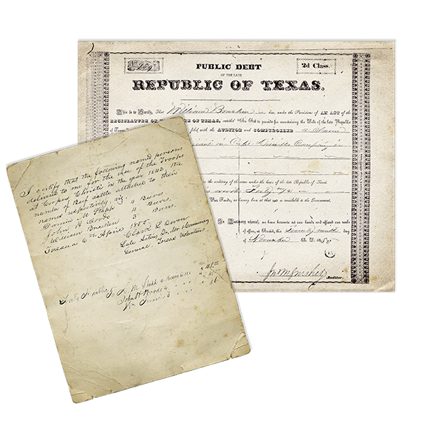 Bill of Sale for cattle to the Republic of Texas and document of service in the War for Independence.