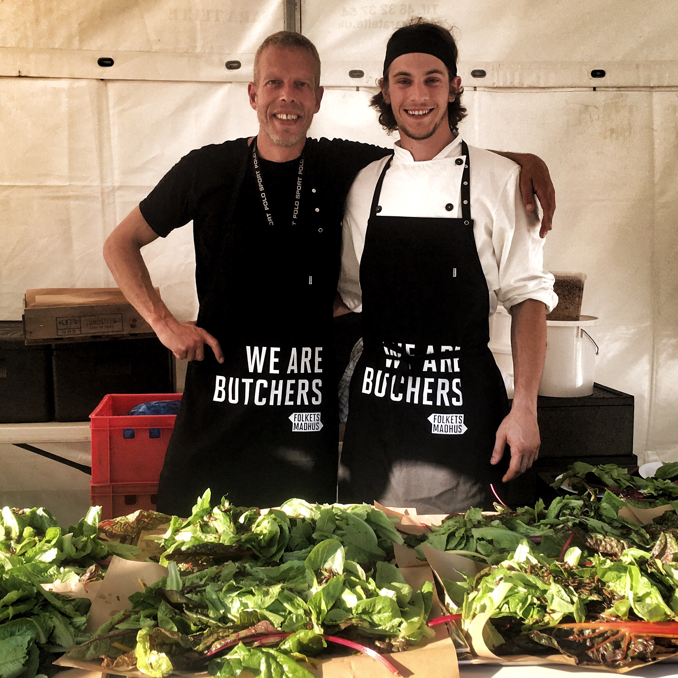 """Michael Museth and I with our """"Smoked Honey Bug Salad."""" Those smoked wheat worms and crickets turned out to be pretty good. I will forever be indebted to Michael for the opportunity he gave me in Denmark."""