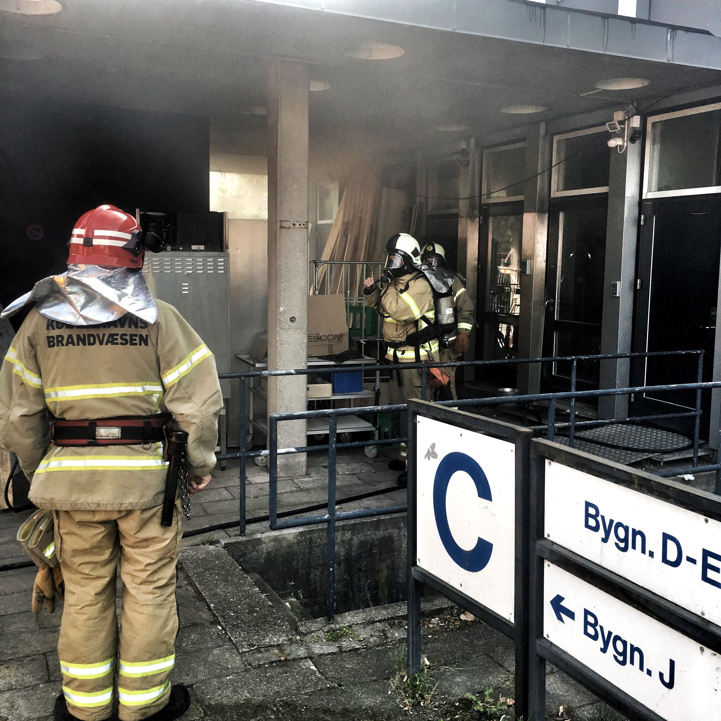 While we were being checked out by the medical crew for smoke inhalation, the professionals extinguished the last of the flames.