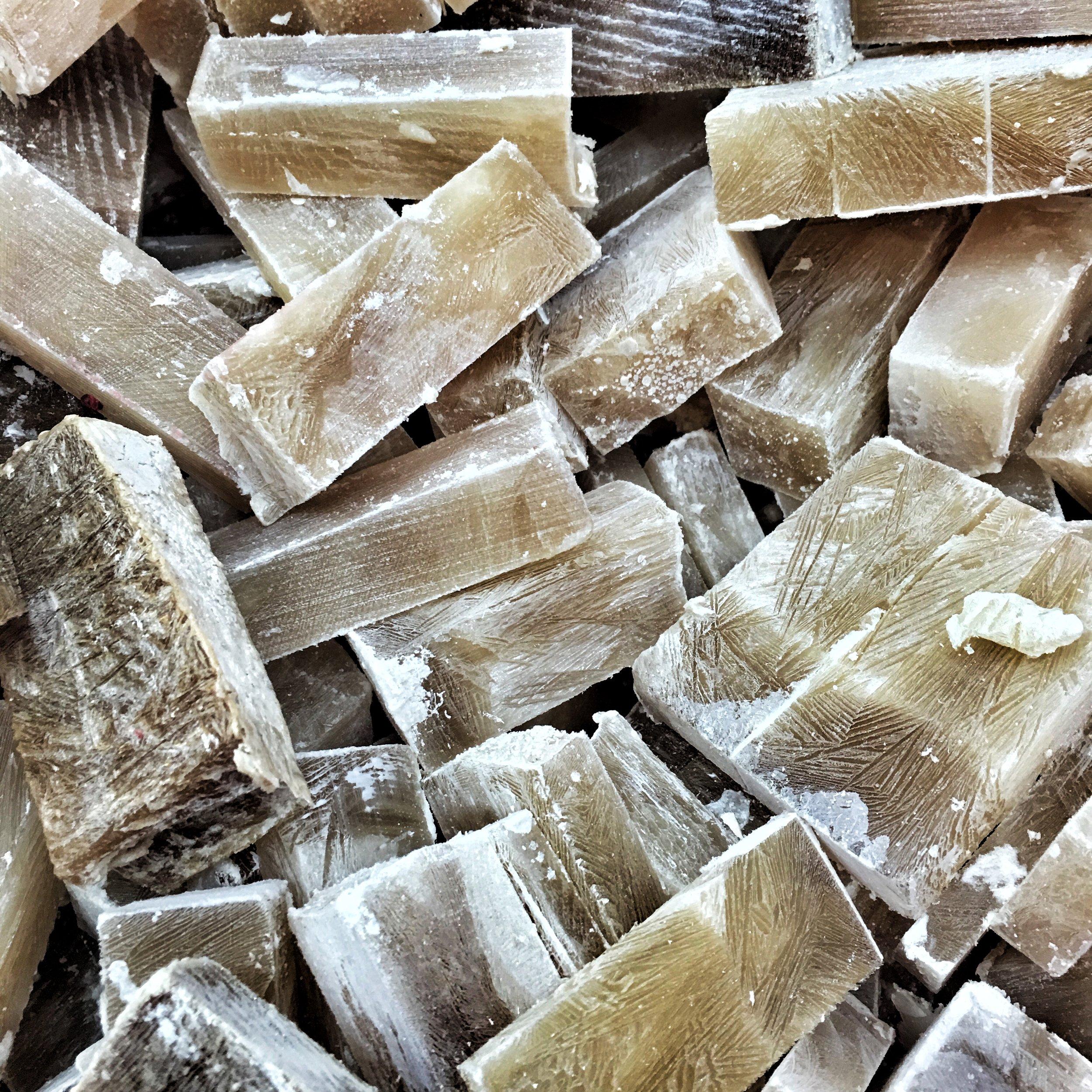 Frozen cubes of beef bouillon.