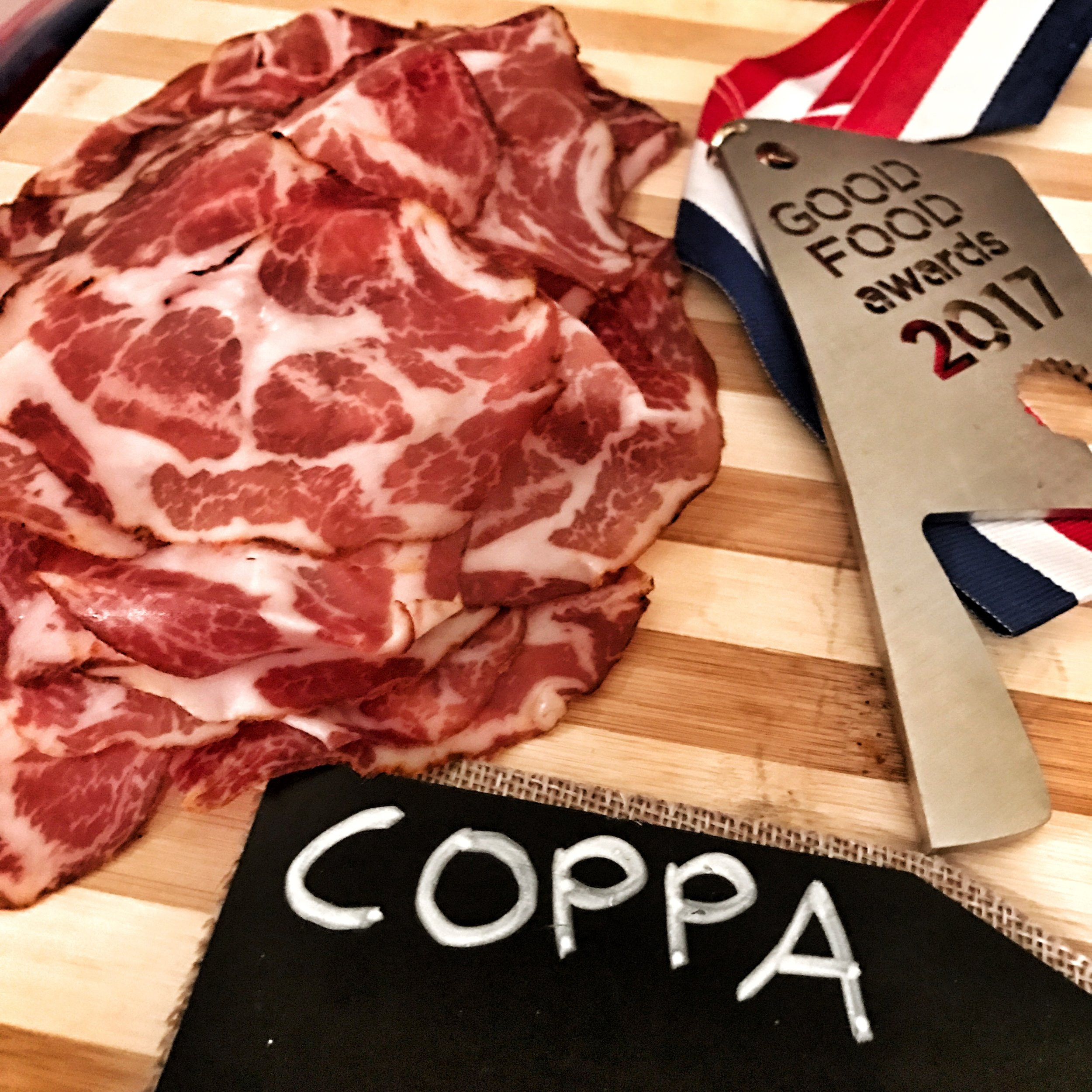 Some award winning cured coppa  in the VIP section of Charcuterie Masters 2017.