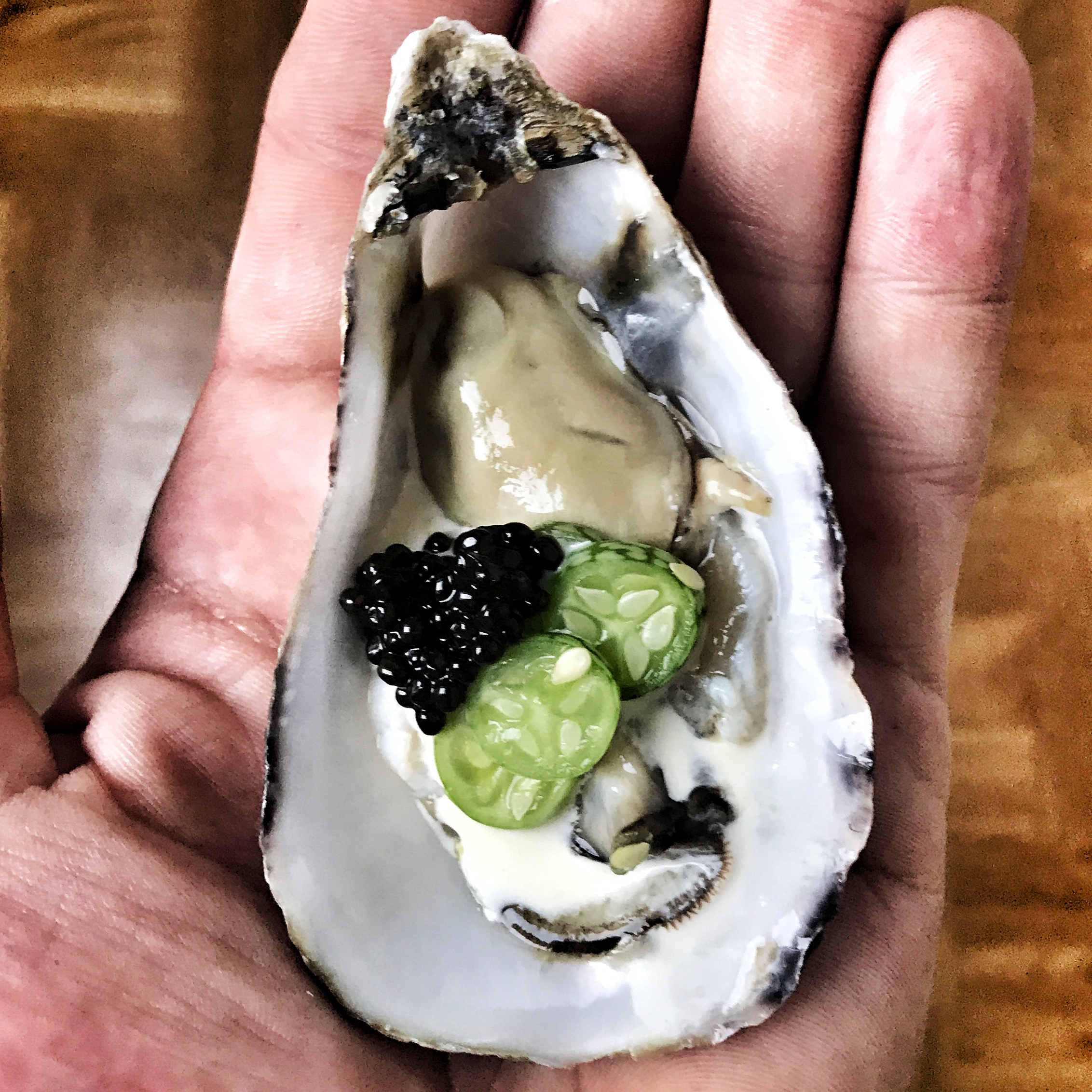 Oysters, Mexican cucumbers and caviar.