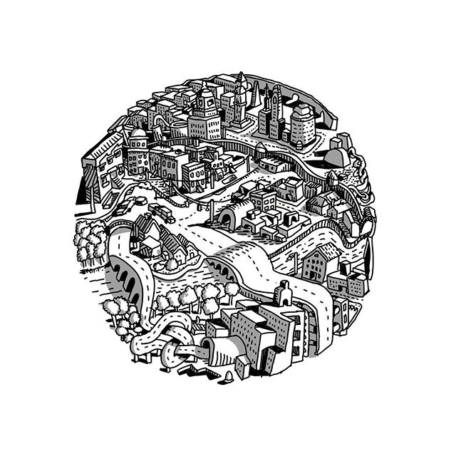 New circle sketch!  There might be a lot more of these popping up here. . . . . . . . #sketch #ipad #procreate #doodle #blackandwhite #city #cartoon #graphicdesigncentral #thedesigntip #graphicdesign #design #illustration #art #creative #graphicgang #simplycooldesign #picame #mgcollective #fubiz #itsnicethat #dribbble #mdcommunity #designinspiration #behance