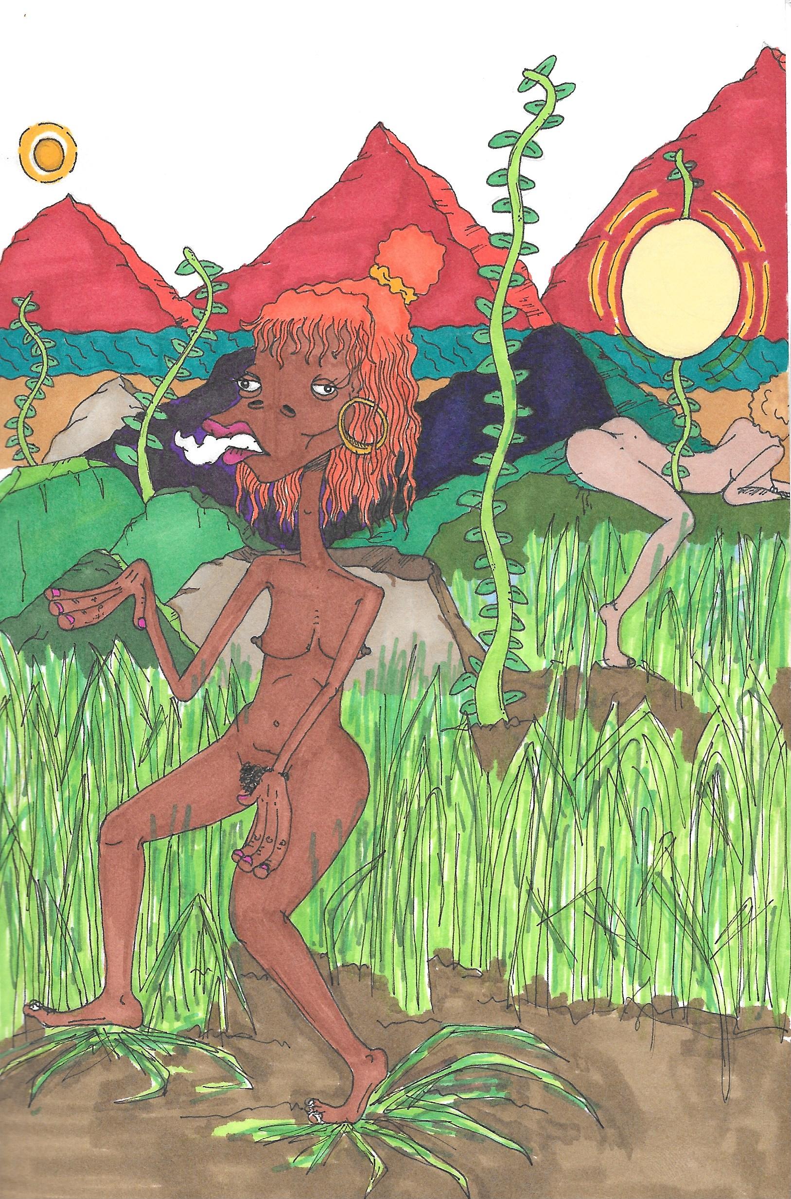"feelin' myself in the garden of eden , 2016   Ink & marker on paper  9.5"" x 11"""