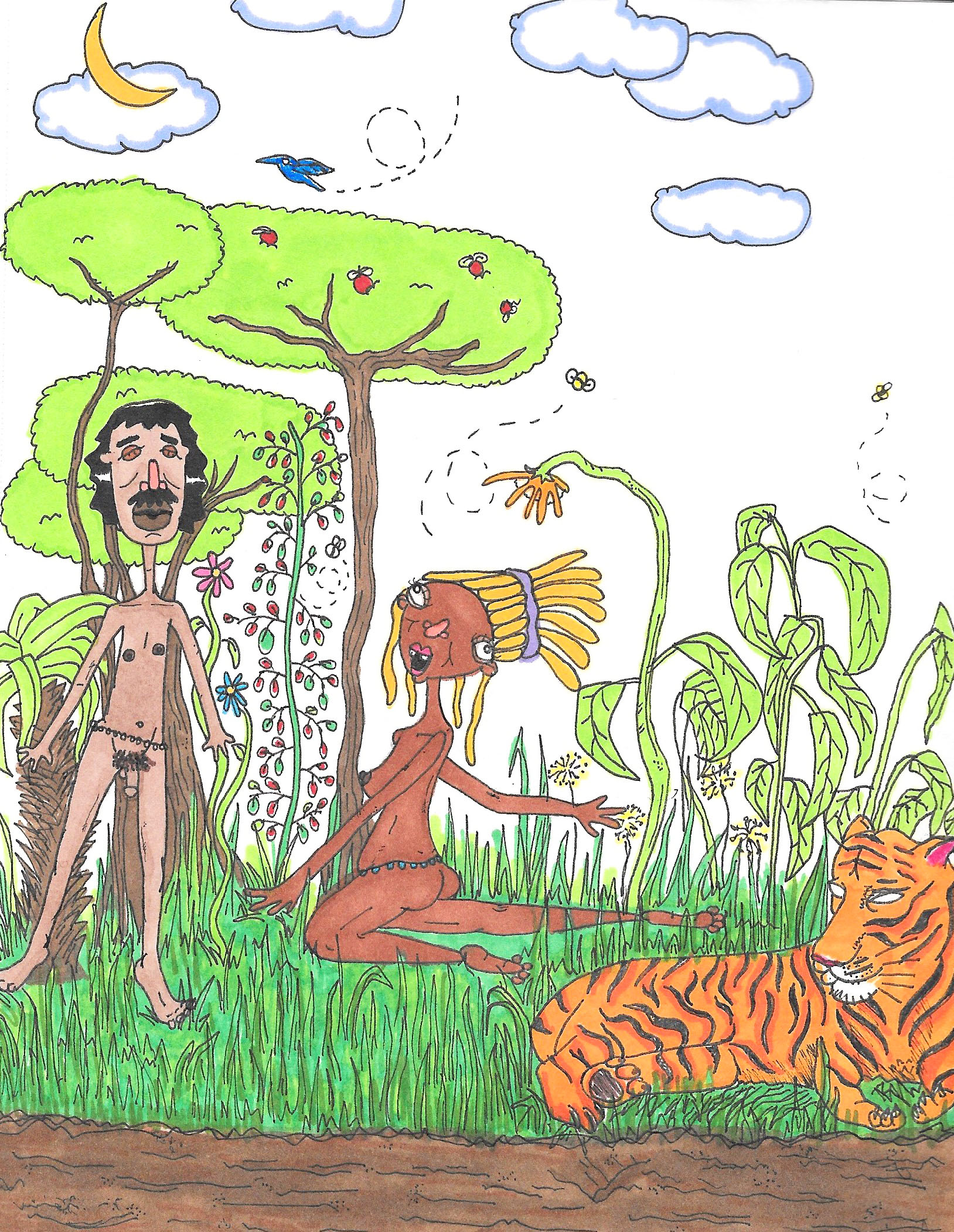 "feelin' myself in the garden of eden pt. 2 , 2017     Ink & marker on paper  5.5"" x 8.5"""